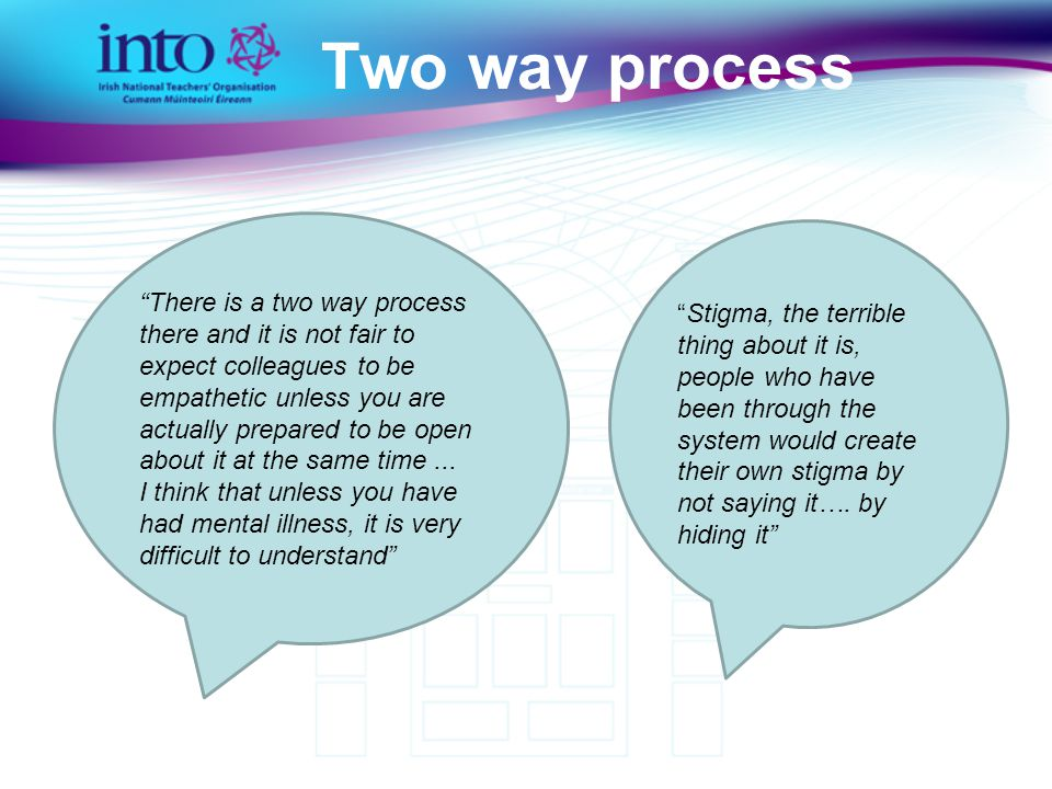 Two way process There is a two way process there and it is not fair to expect colleagues to be empathetic unless you are actually prepared to be open about it at the same time...