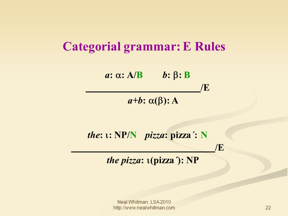 22 Neal Whitman, LSA 2010 http://www.nealwhitman.com Categorial grammar: E Rules a:  : A/Bb:  : B /E a+b:  (  ): A the:  : NP/Npizza: pizza´: N /E the pizza:  (pizza´): NP
