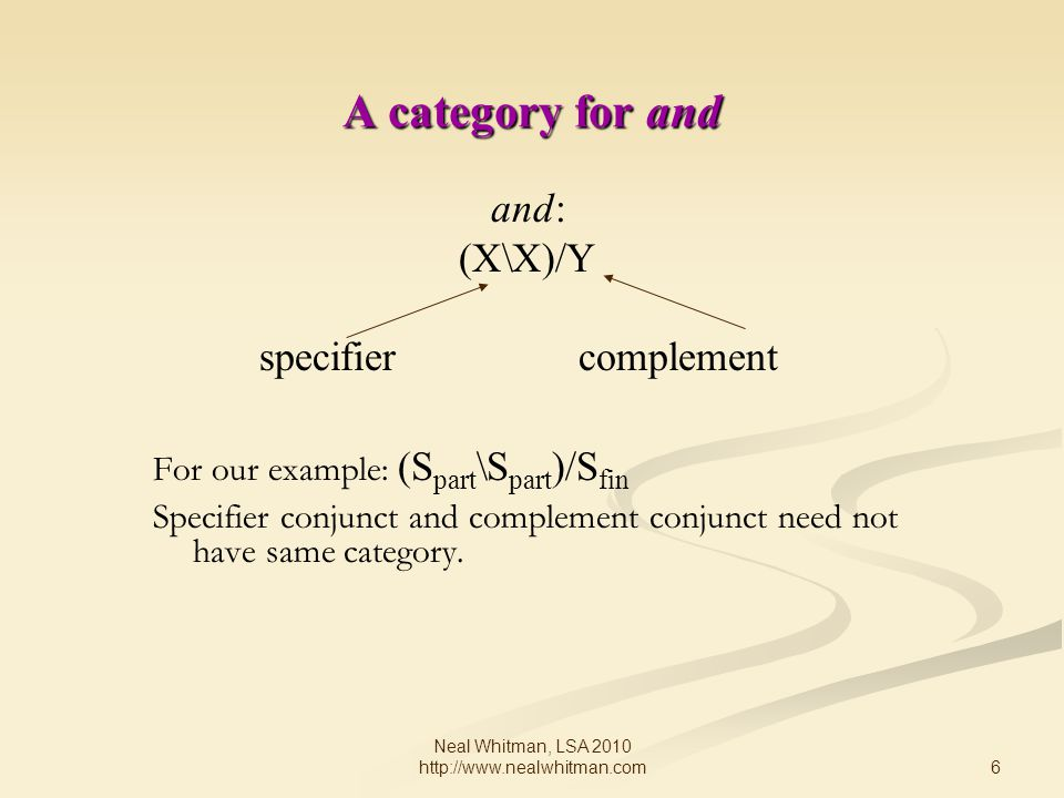 6 Neal Whitman, LSA 2010 http://www.nealwhitman.com A category for and and: (X\X)/Y specifiercomplement For our example: (S part \S part )/S fin Specifier conjunct and complement conjunct need not have same category.
