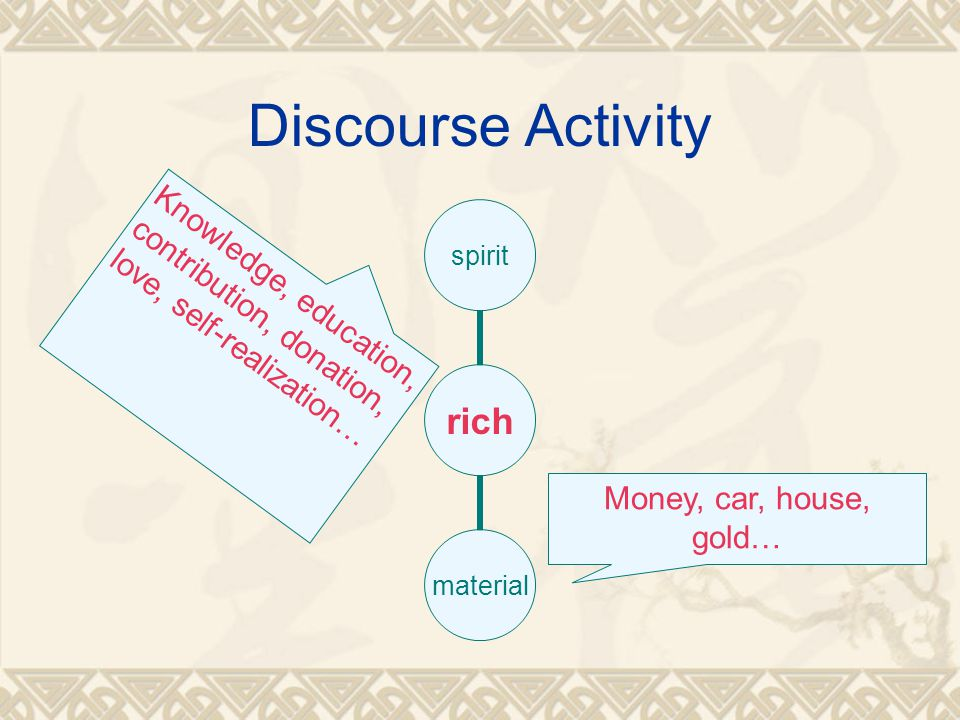 Discourse Activity rich spiritmaterial Money, car, house, gold… Knowledge, education, contribution, donation, love, self-realization…