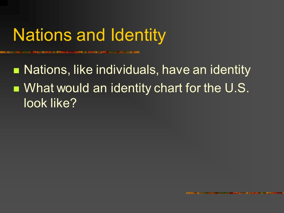 Nations and Identity Nations, like individuals, have an identity What would an identity chart for the U.S. look like?