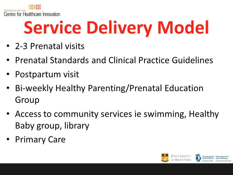 Service Delivery Model 2-3 Prenatal visits Prenatal Standards and Clinical Practice Guidelines Postpartum visit Bi-weekly Healthy Parenting/Prenatal Education Group Access to community services ie swimming, Healthy Baby group, library Primary Care