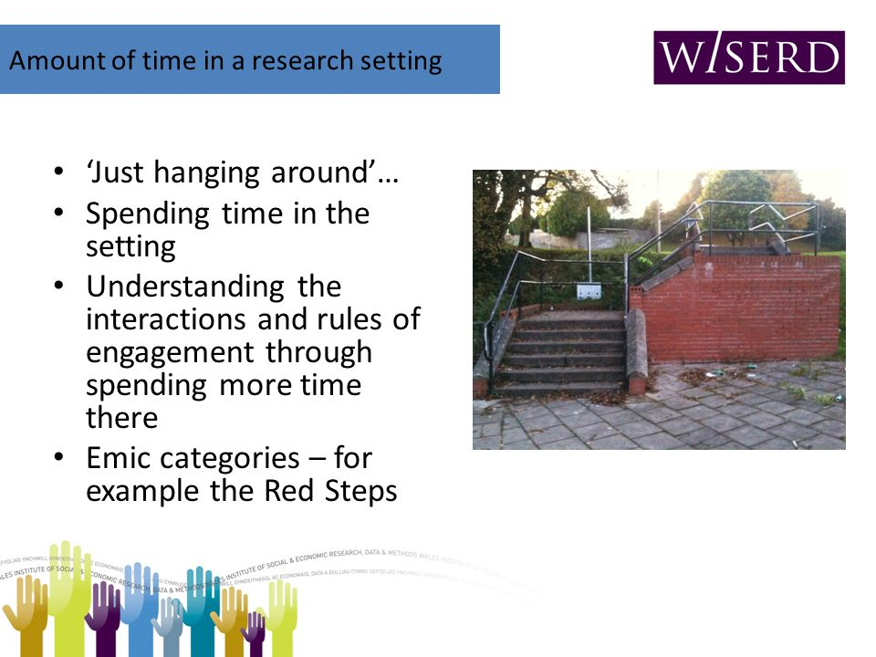 'Just hanging around'… Spending time in the setting Understanding the interactions and rules of engagement through spending more time there Emic categ