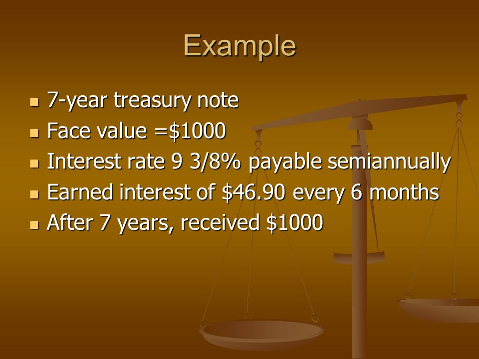 Example 7-year treasury note 7-year treasury note Face value =$1000 Face value =$1000 Interest rate 9 3/8% payable semiannually Interest rate 9 3/8% payable semiannually Earned interest of $46.90 every 6 months Earned interest of $46.90 every 6 months After 7 years, received $1000 After 7 years, received $1000