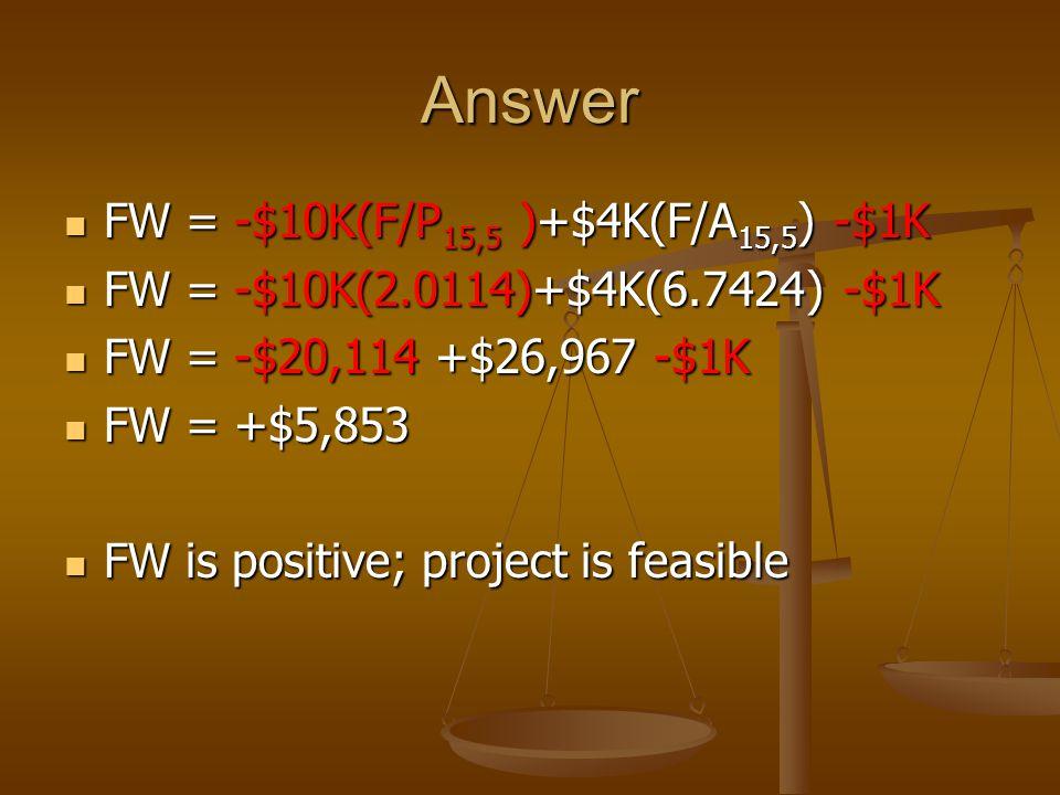 Answer FW = -$10K(F/P 15,5 )+$4K(F/A 15,5 ) -$1K FW = -$10K(F/P 15,5 )+$4K(F/A 15,5 ) -$1K FW = -$10K(2.0114)+$4K(6.7424) -$1K FW = -$10K(2.0114)+$4K(6.7424) -$1K FW = -$20,114 +$26,967 -$1K FW = -$20,114 +$26,967 -$1K FW = +$5,853 FW = +$5,853 FW is positive; project is feasible FW is positive; project is feasible