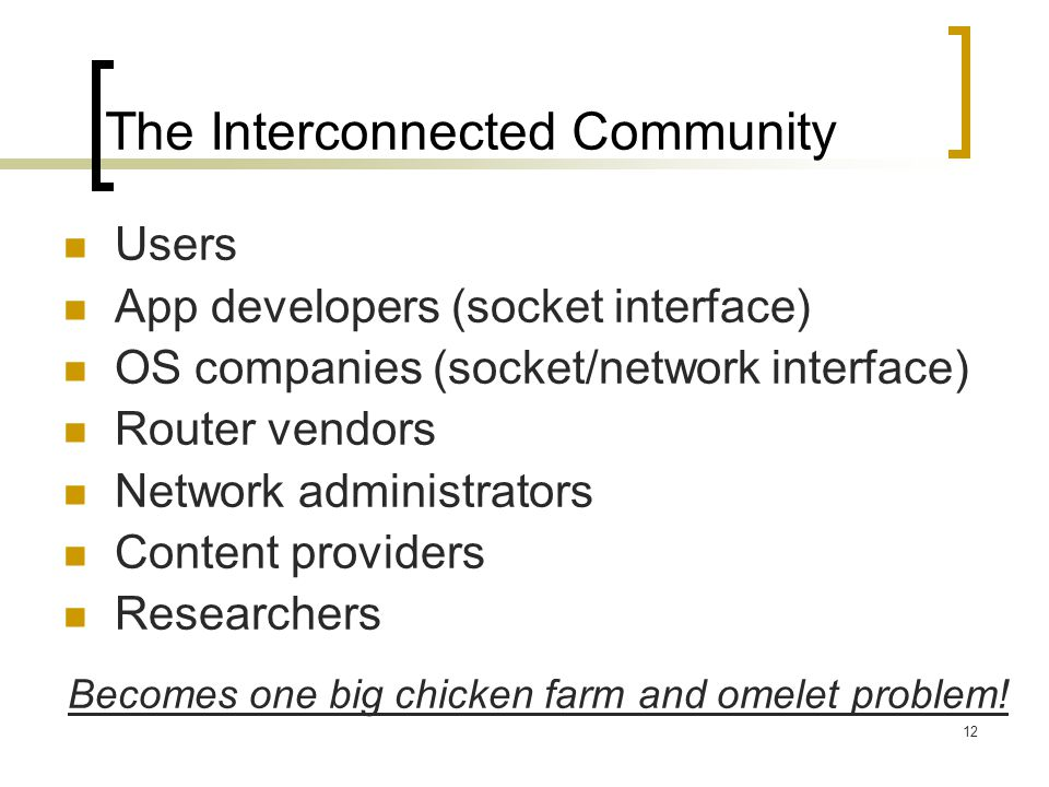 12 The Interconnected Community Users App developers (socket interface) OS companies (socket/network interface) Router vendors Network administrators Content providers Researchers Becomes one big chicken farm and omelet problem!