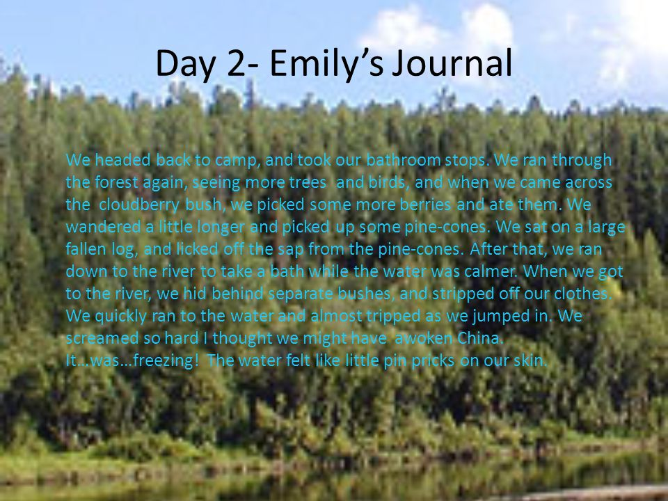 Day 2- Emily's Journal We headed back to camp, and took our bathroom stops. We ran through the forest again, seeing more trees and birds, and when we