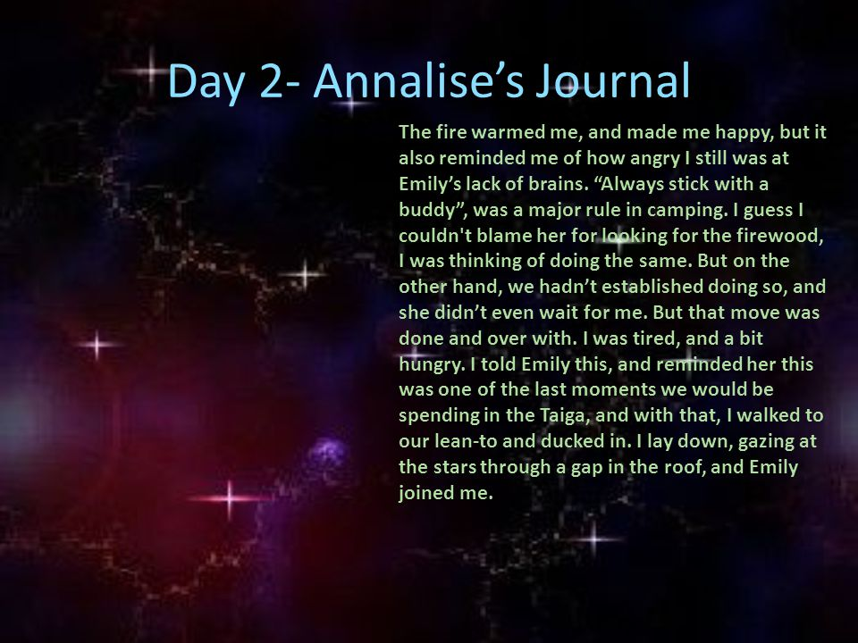 "Day 2- Annalise's Journal The fire warmed me, and made me happy, but it also reminded me of how angry I still was at Emily's lack of brains. ""Always s"