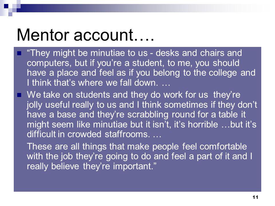 11 Mentor account….