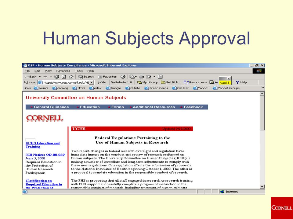 Human Subjects Approval