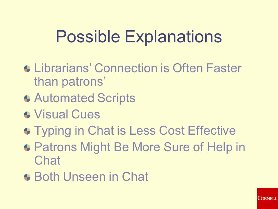 Possible Explanations Librarians' Connection is Often Faster than patrons' Automated Scripts Visual Cues Typing in Chat is Less Cost Effective Patrons Might Be More Sure of Help in Chat Both Unseen in Chat
