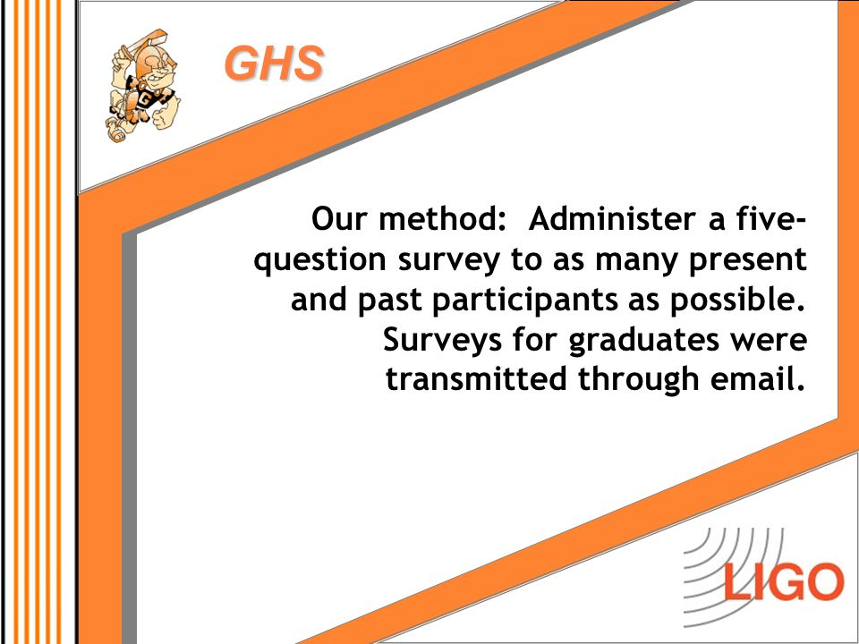 GHS Our method: Administer a five- question survey to as many present and past participants as possible.