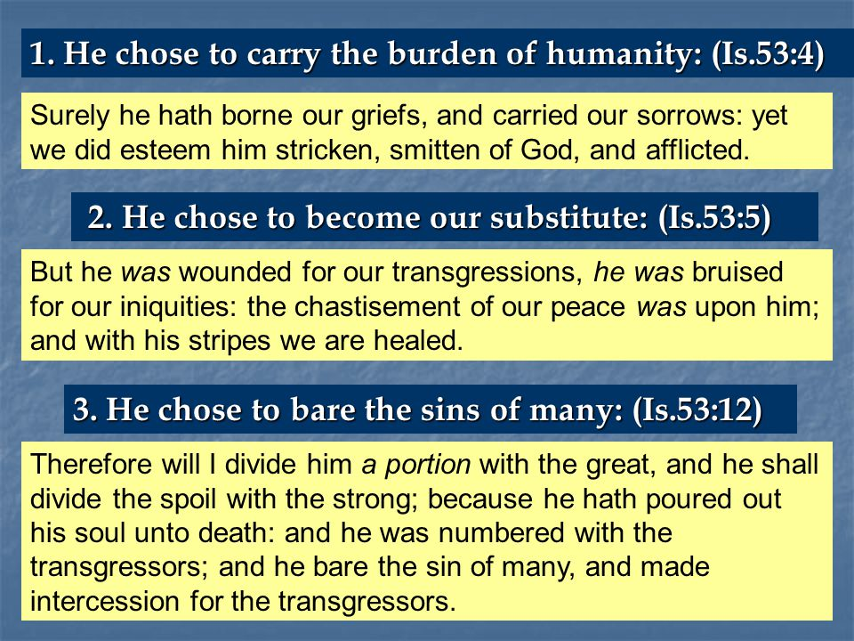 Surely he hath borne our griefs, and carried our sorrows: yet we did esteem him stricken, smitten of God, and afflicted.