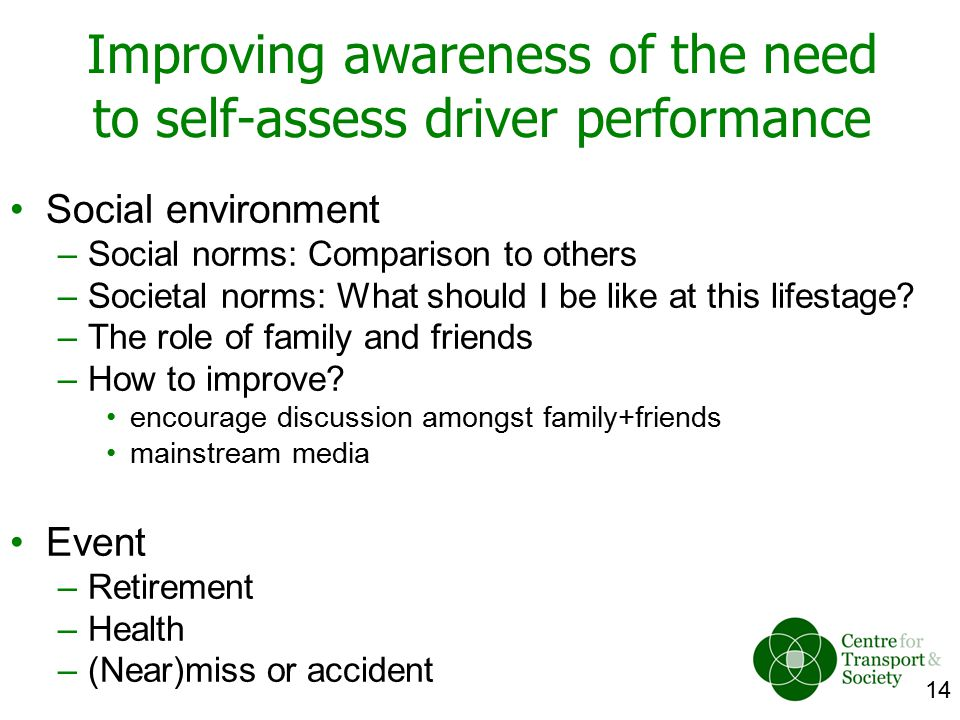 14 Improving awareness of the need to self-assess driver performance Social environment –Social norms: Comparison to others –Societal norms: What shou