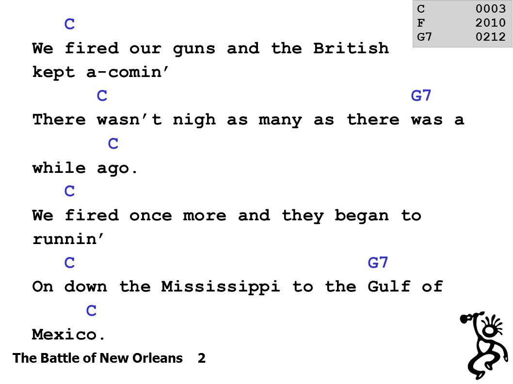 The Battle of New Orleans 2 C We fired our guns and the British kept a-comin' C G7 There wasn't nigh as many as there was a C while ago.