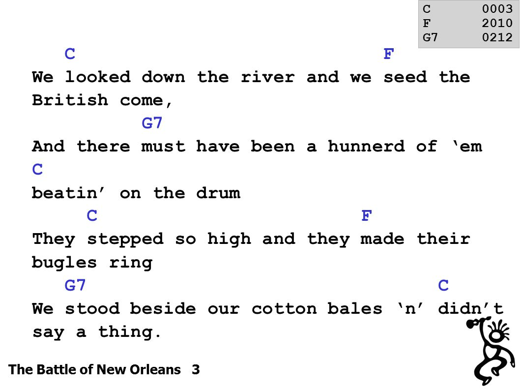 The Battle of New Orleans 3 C F We looked down the river and we seed the British come, G7 And there must have been a hunnerd of 'em C beatin' on the drum C F They stepped so high and they made their bugles ring G7 C We stood beside our cotton bales 'n' didn't say a thing.