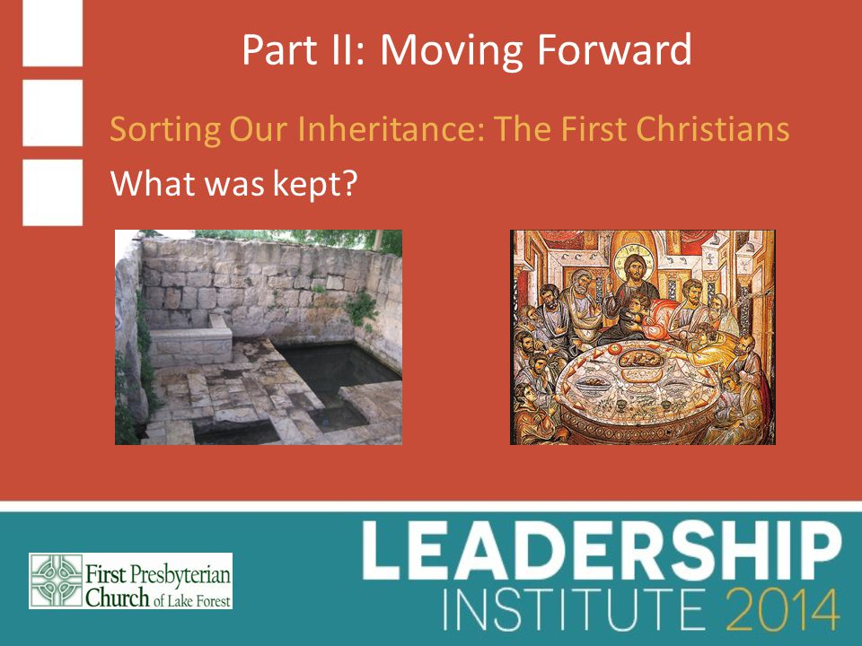 Part II: Moving Forward Sorting Our Inheritance: The First Christians What was kept