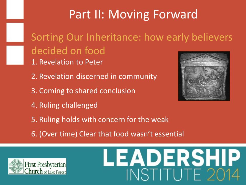 Part II: Moving Forward Sorting Our Inheritance: how early believers decided on food 1.