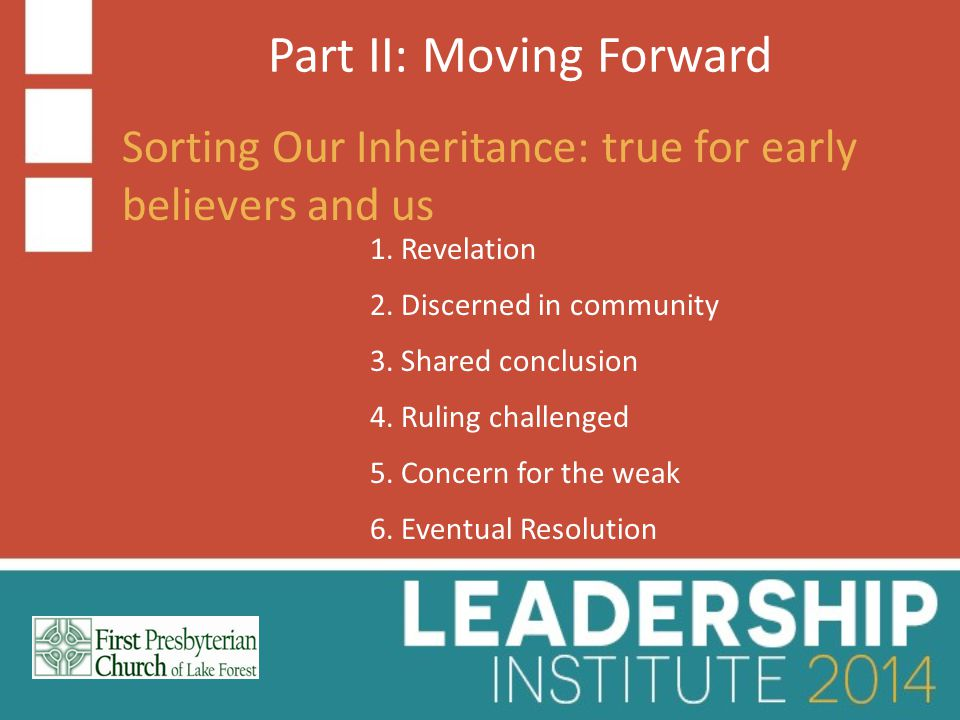 Part II: Moving Forward Sorting Our Inheritance: true for early believers and us 1.
