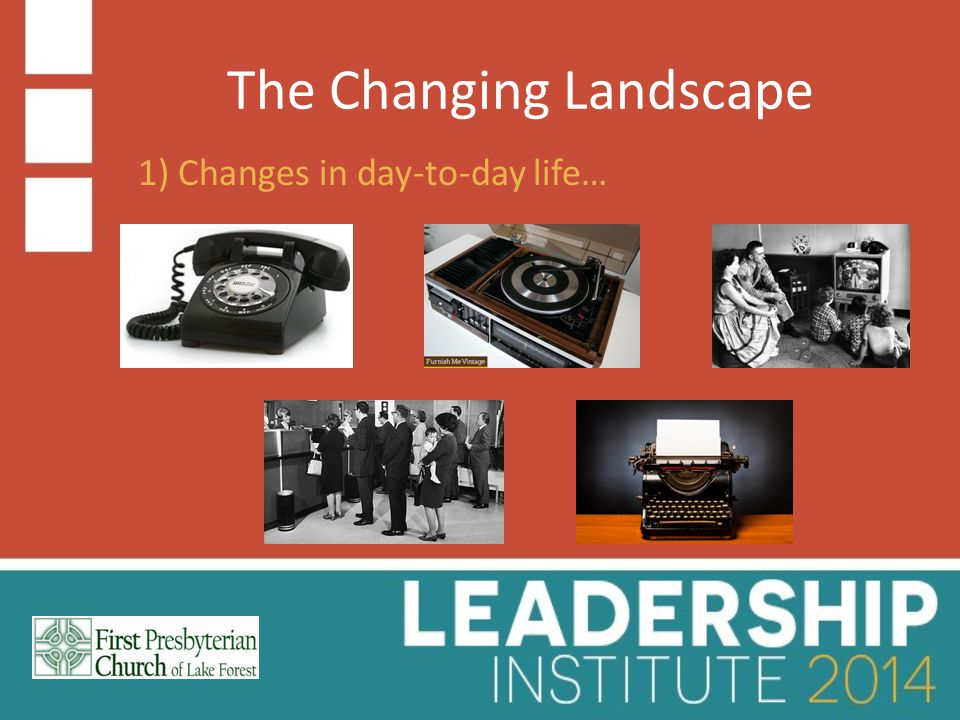 The Changing Landscape 1) Changes in day-to-day life…