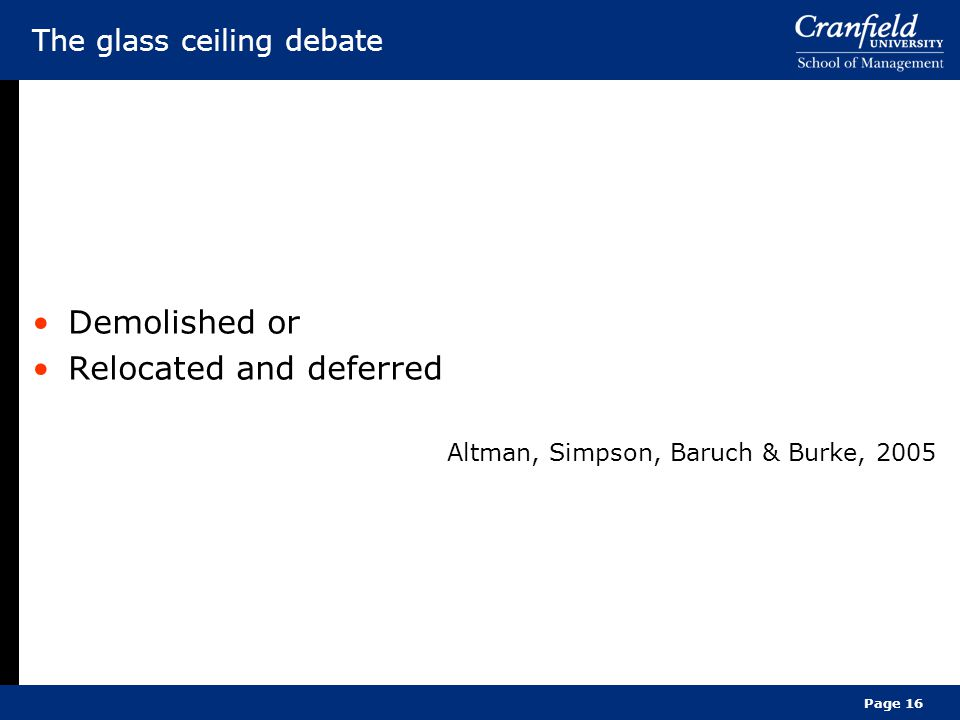 Page 16 The glass ceiling debate Demolished or Relocated and deferred Altman, Simpson, Baruch & Burke, 2005