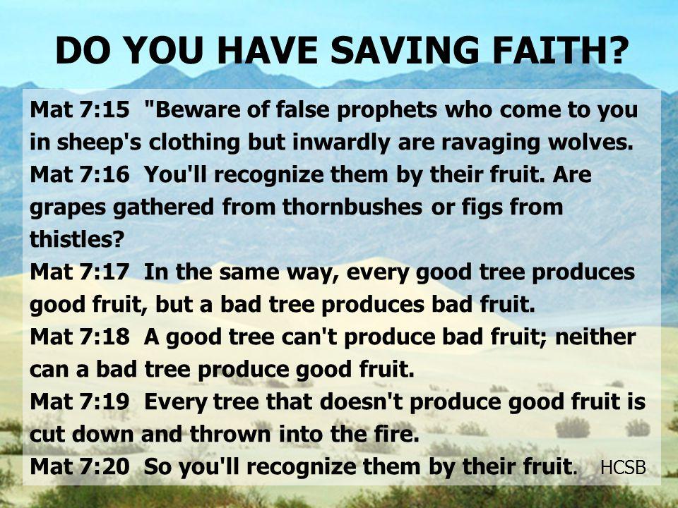DO YOU HAVE SAVING FAITH.