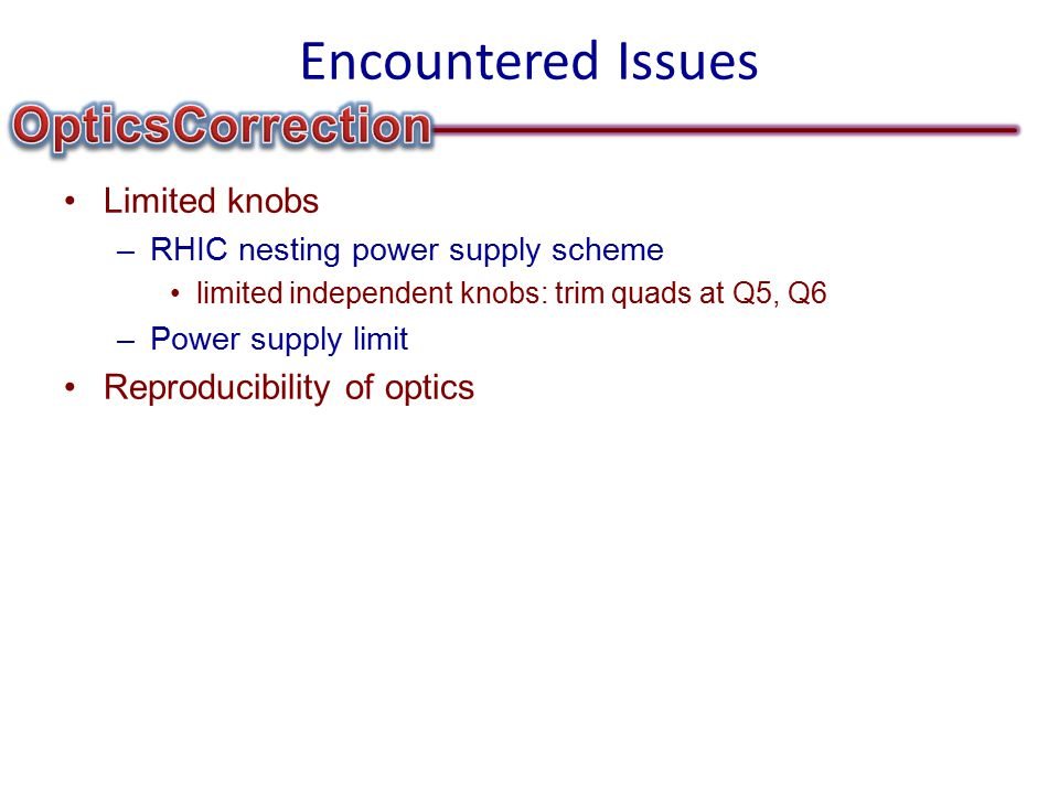 Encountered Issues Limited knobs –RHIC nesting power supply scheme limited independent knobs: trim quads at Q5, Q6 –Power supply limit Reproducibility of optics
