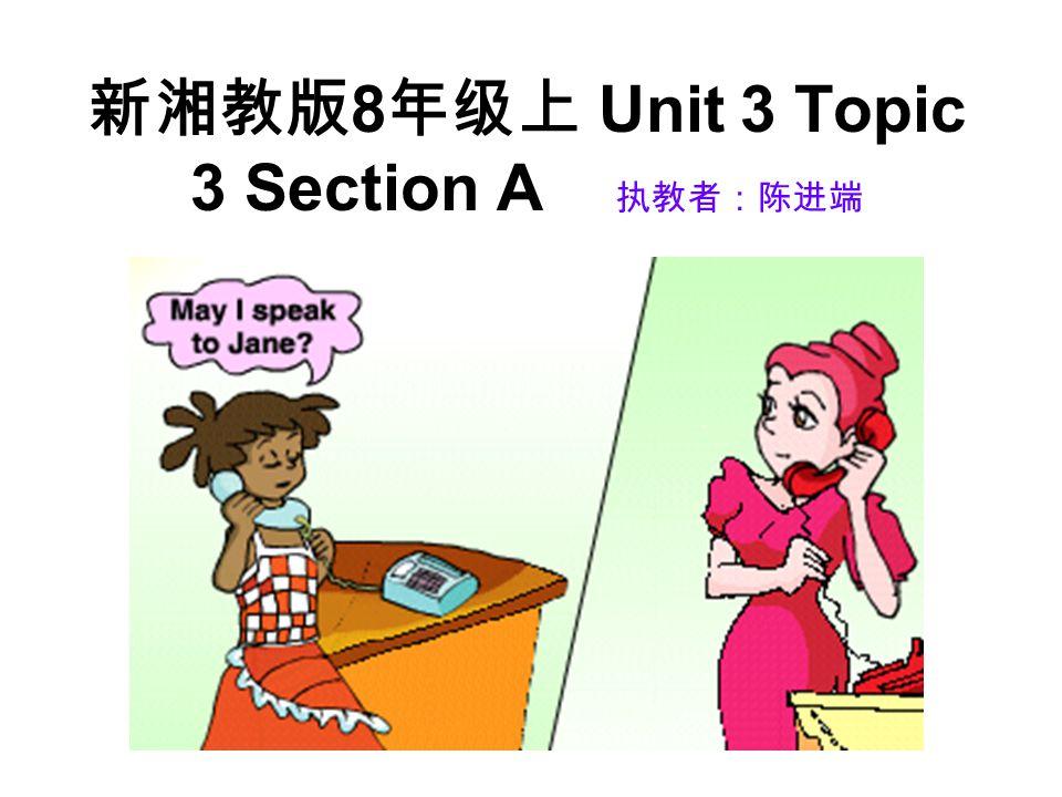 新湘教版 8 年级上 Unit 3 Topic 3 Section A 执教者:陈进端