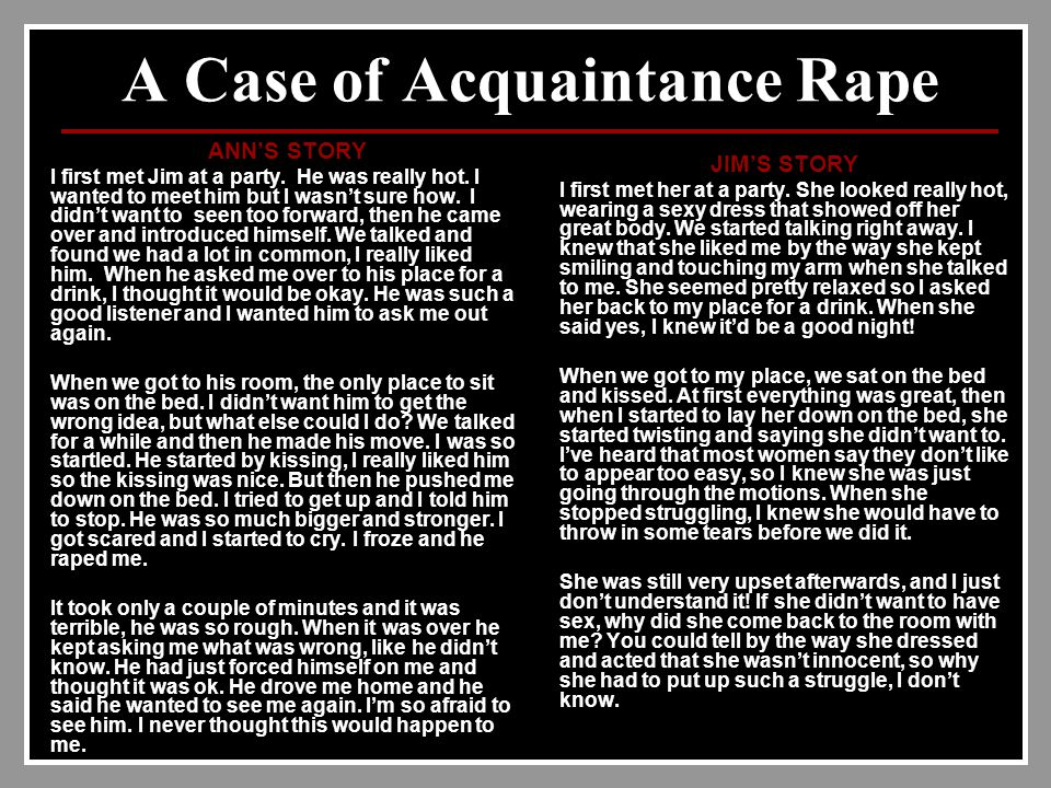 A Case of Acquaintance Rape ANN'S STORY I first met Jim at a party.