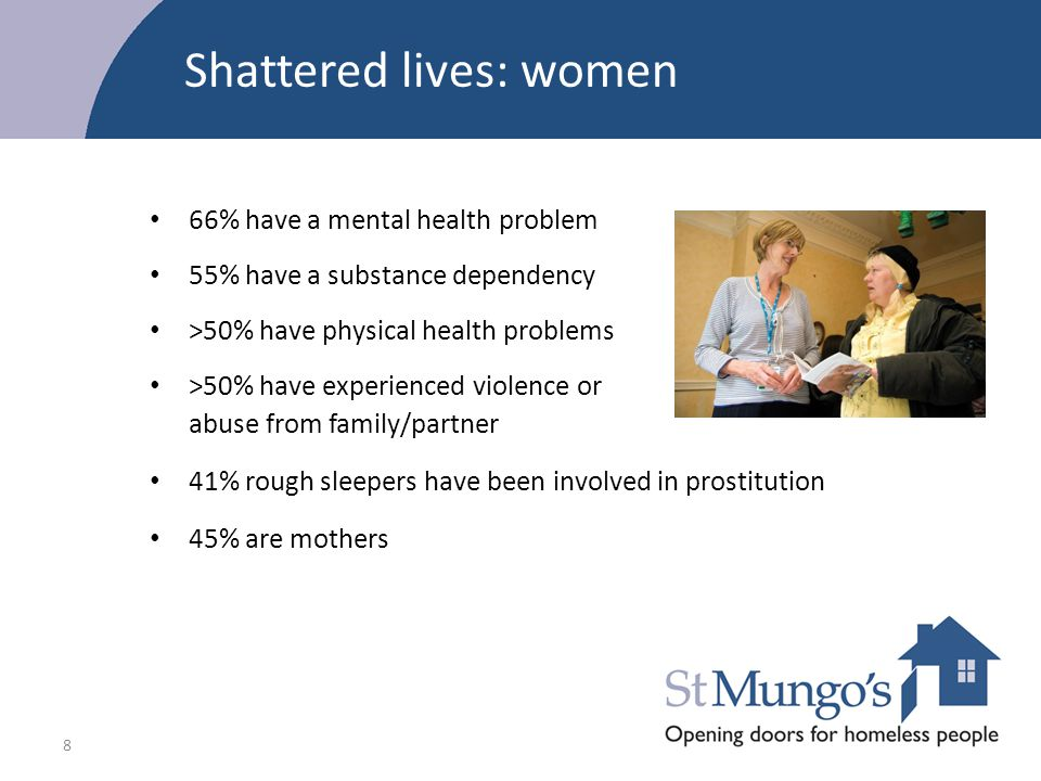8 Shattered lives: women 66% have a mental health problem 55% have a substance dependency >50% have physical health problems >50% have experienced vio