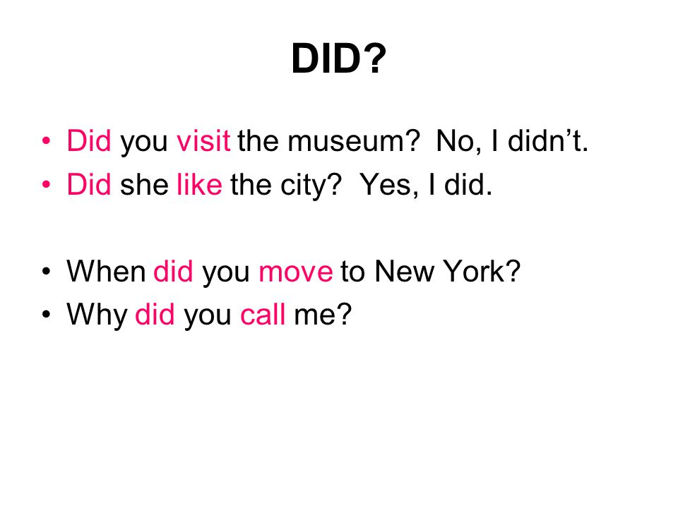 DID. Did you visit the museum. No, I didn't. Did she like the city.