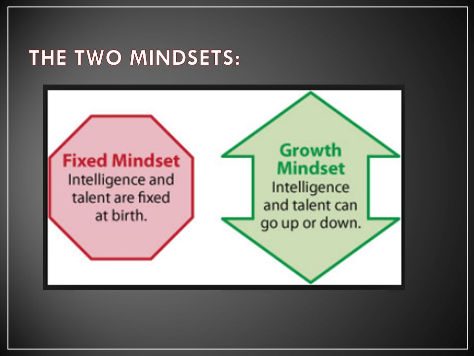 The brain is static. Talent and giftedness are permanent. THE FIXED MINDSET