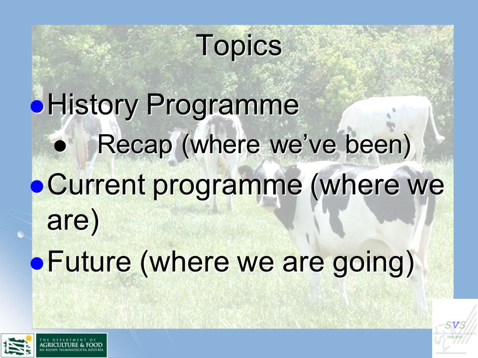 Topics History Programme History Programme Recap (where we've been) Recap (where we've been) Current programme (where we are) Current programme (where we are) Future (where we are going) Future (where we are going)