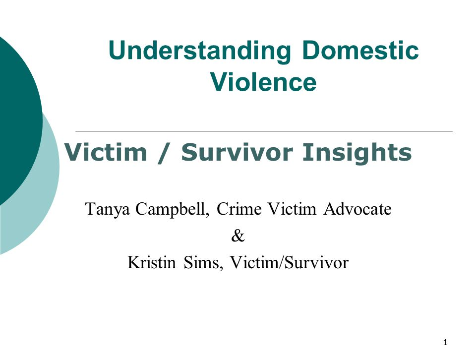 Understanding Domestic Violence Victim / Survivor Insights Tanya Campbell, Crime Victim Advocate & Kristin Sims, Victim/Survivor 1