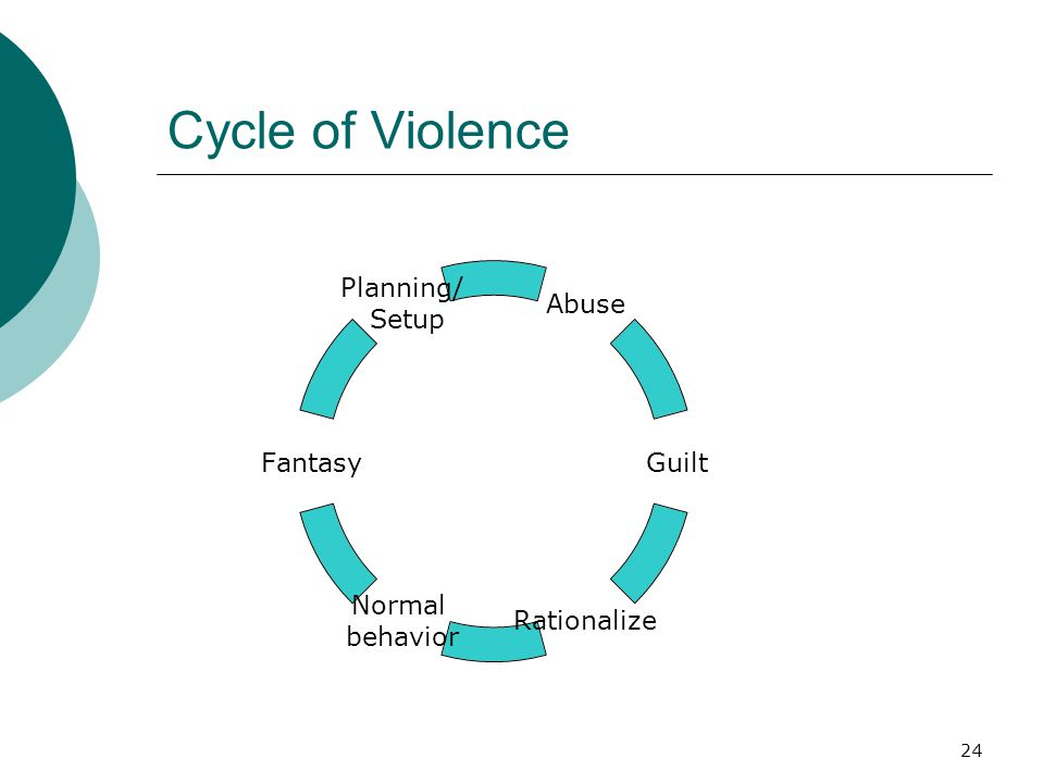 Cycle of Violence Abuse Guilt Rationalize Normal behavior Fantasy Planning/ Setup 24
