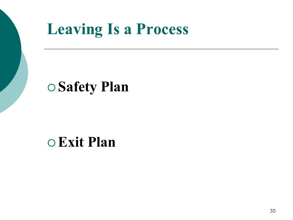 Leaving Is a Process  Safety Plan  Exit Plan 30