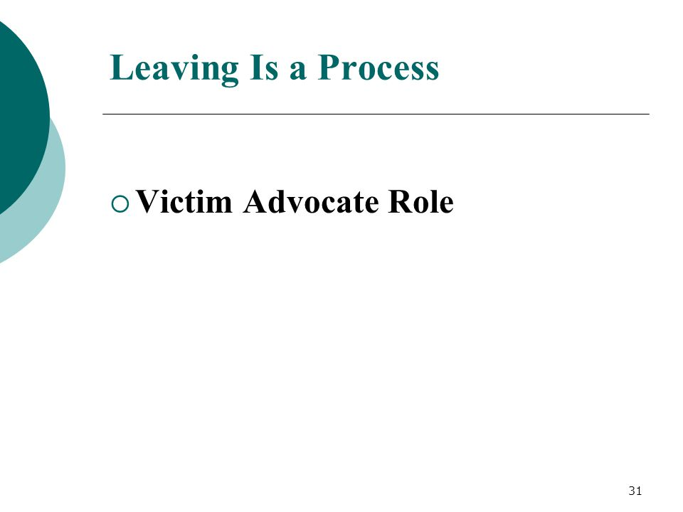 Leaving Is a Process  Victim Advocate Role 31