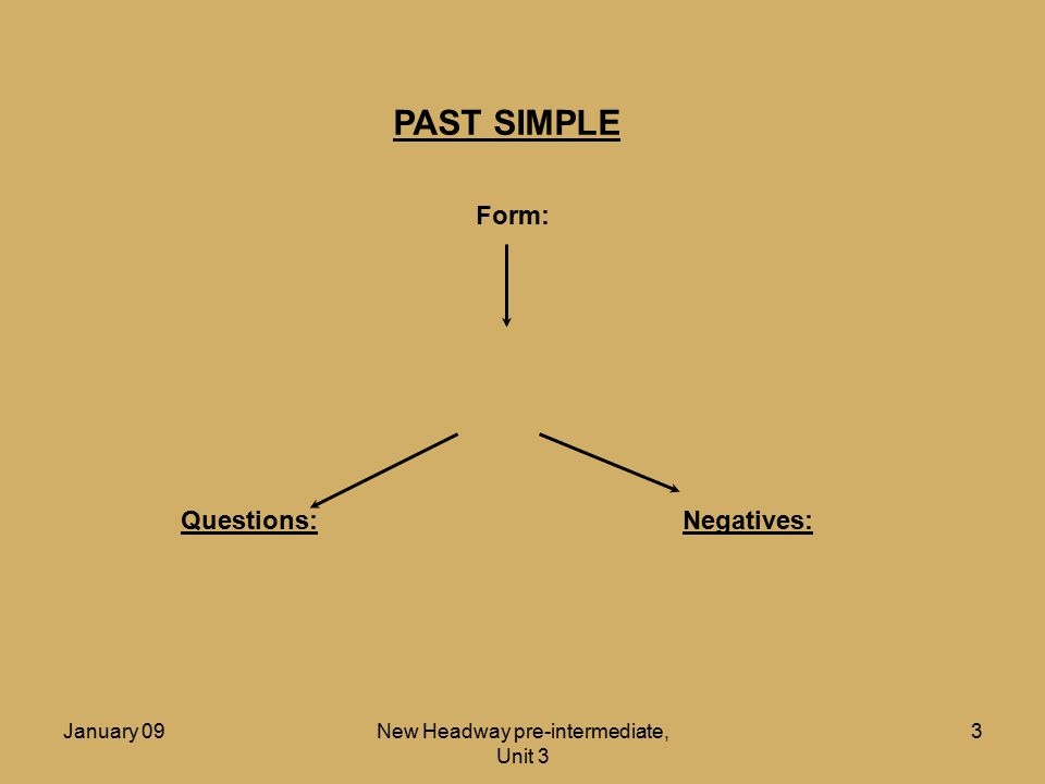 January 09New Headway pre-intermediate, Unit 3 4 PAST SIMPLE Form: Infinitive + ed Questions:Negatives: