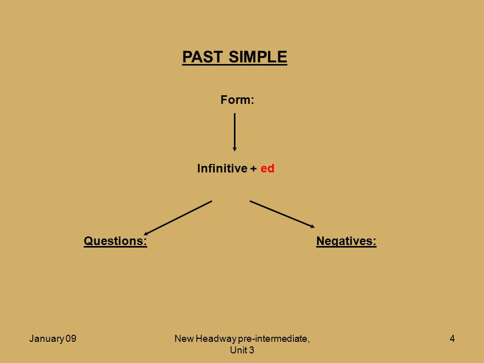 January 09New Headway pre-intermediate, Unit 3 5 PAST SIMPLE Form: Infinitive + ed Questions:Negatives: There are also many irregular verbs
