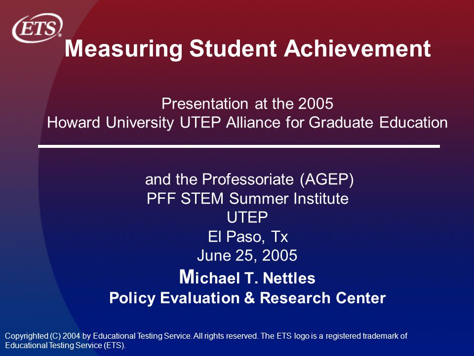 Supportive Environment (0.95) Source: Nettles & Millett The High Achieving College Student Persistence Study