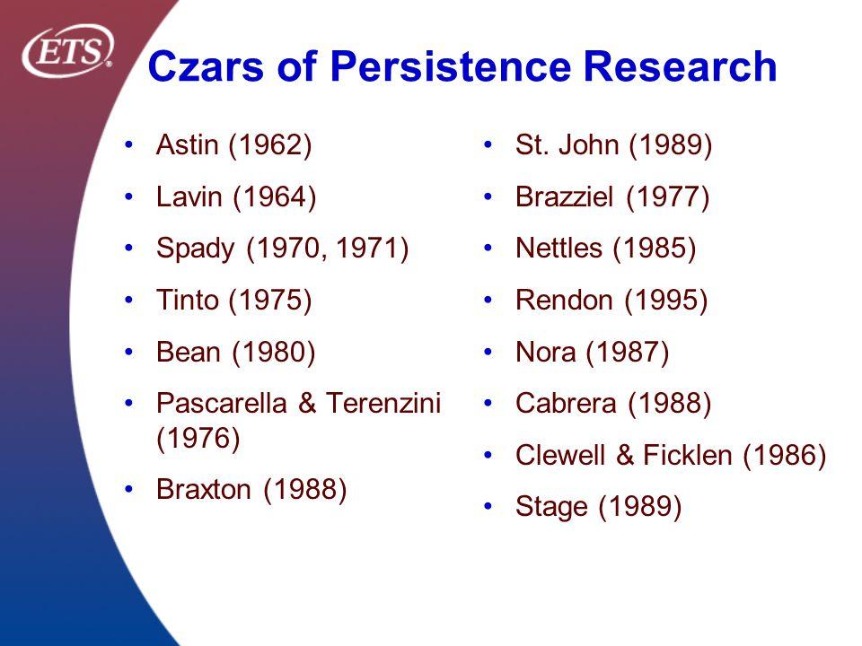 Czars of Persistence Research Astin (1962) Lavin (1964) Spady (1970, 1971) Tinto (1975) Bean (1980) Pascarella & Terenzini (1976) Braxton (1988) St. J