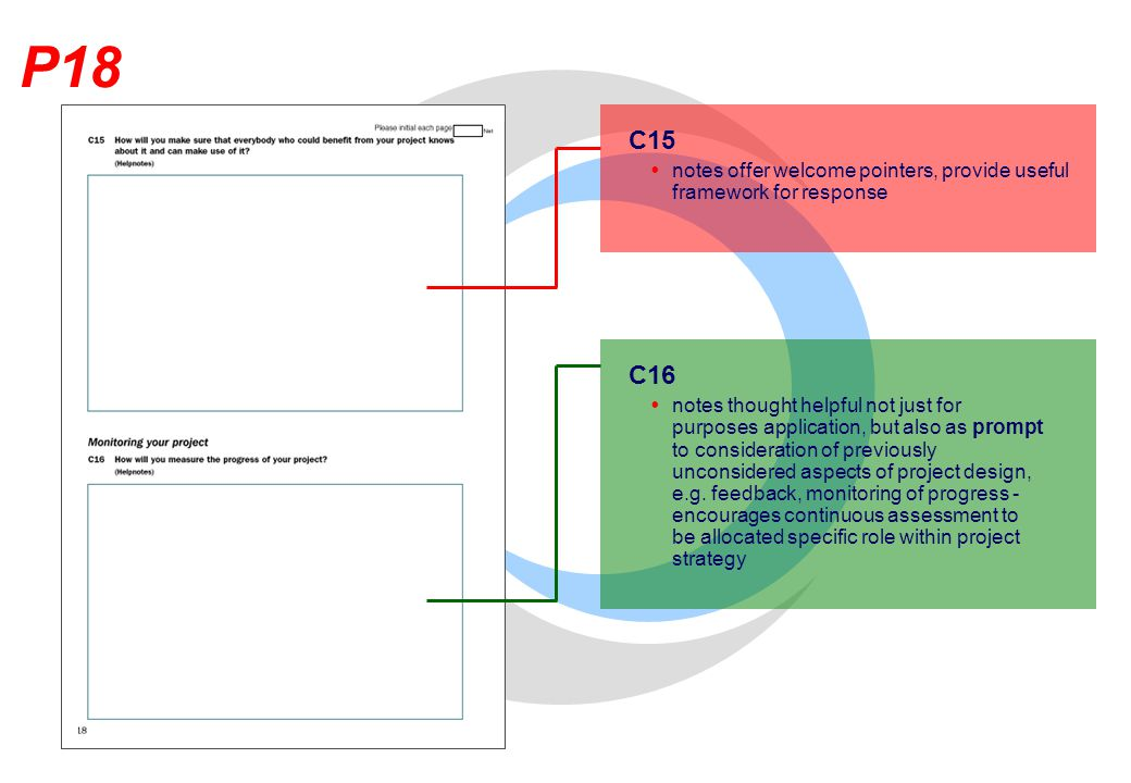 P18 C15  notes offer welcome pointers, provide useful framework for response C16  notes thought helpful not just for purposes application, but also as prompt to consideration of previously unconsidered aspects of project design, e.g.