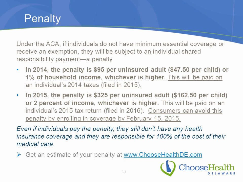 Penalty Under the ACA, if individuals do not have minimum essential coverage or receive an exemption, they will be subject to an individual shared responsibility payment—a penalty.