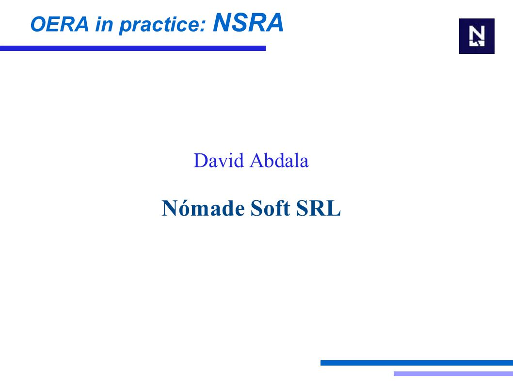 David Abdala Nómade Soft SRL OERA in practice: NSRA
