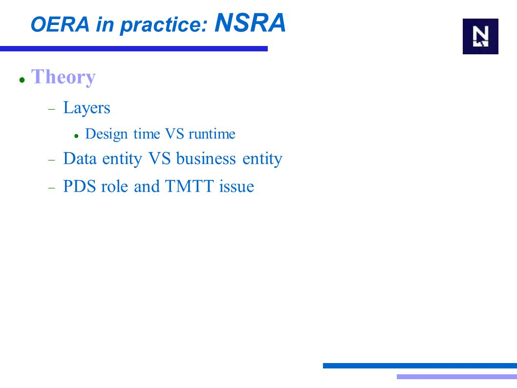 OERA in practice: NSRA Background Theory Writing applications Runtime Behaviour Common Infrastructure Layer Questions