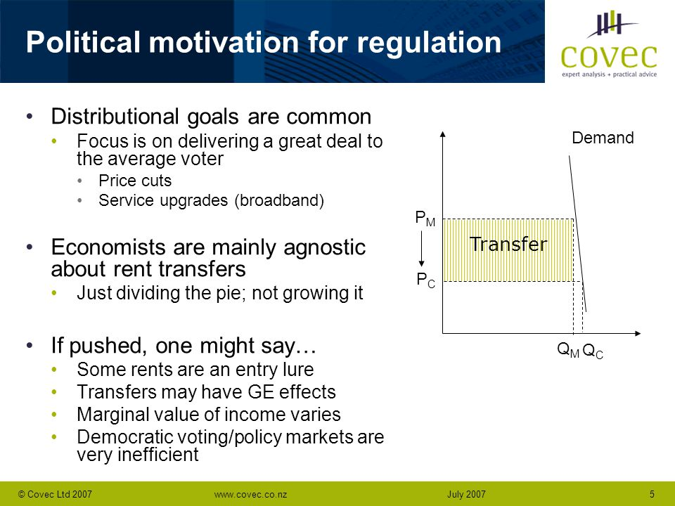 www.covec.co.nz5© Covec Ltd 2007July 2007 Political motivation for regulation Distributional goals are common Focus is on delivering a great deal to the average voter Price cuts Service upgrades (broadband) Economists are mainly agnostic about rent transfers Just dividing the pie; not growing it If pushed, one might say… Some rents are an entry lure Transfers may have GE effects Marginal value of income varies Democratic voting/policy markets are very inefficient PMPM PCPC Demand QMQM QCQC Transfer