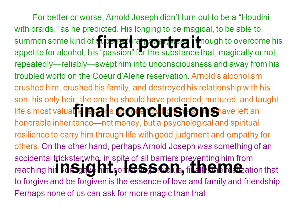 final portrait final conclusions insight, lesson, theme