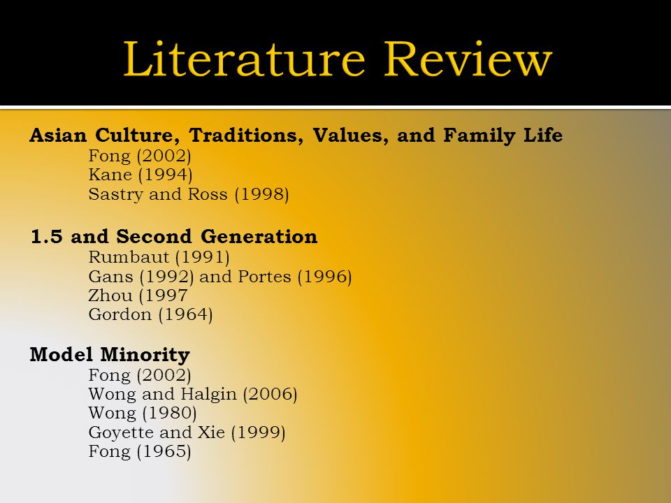 Asian Culture, Traditions, Values, and Family Life Fong (2002) Kane (1994) Sastry and Ross (1998) 1.5 and Second Generation Rumbaut (1991) Gans (1992) and Portes (1996) Zhou (1997 Gordon (1964) Model Minority Fong (2002) Wong and Halgin (2006) Wong (1980) Goyette and Xie (1999) Fong (1965)