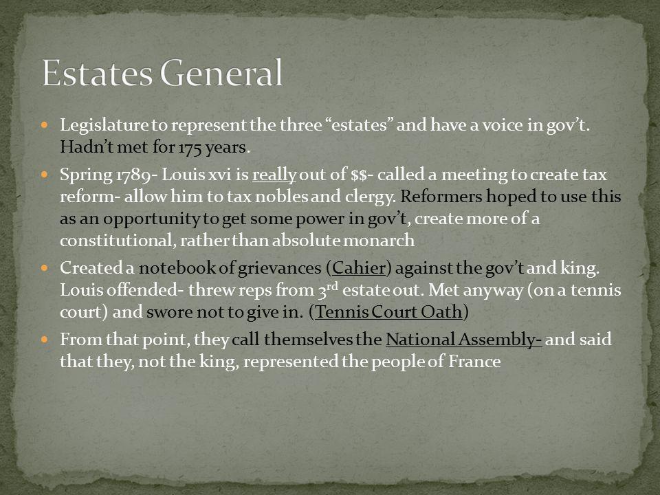 Legislature to represent the three estates and have a voice in gov't.