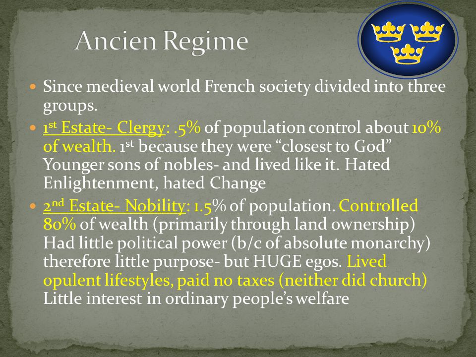 Since medieval world French society divided into three groups.